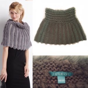 Sweaters - Jocelyn Sage Green Rabbit Fur Capelet / Mini Skirt